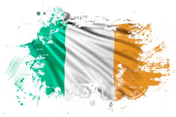 ilustraciones, imágenes clip art, dibujos animados e iconos de stock de irish ink grunge flag - bandera irlandesa