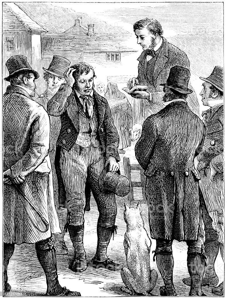 Irish struggle for home rule - a public meeting vector art illustration