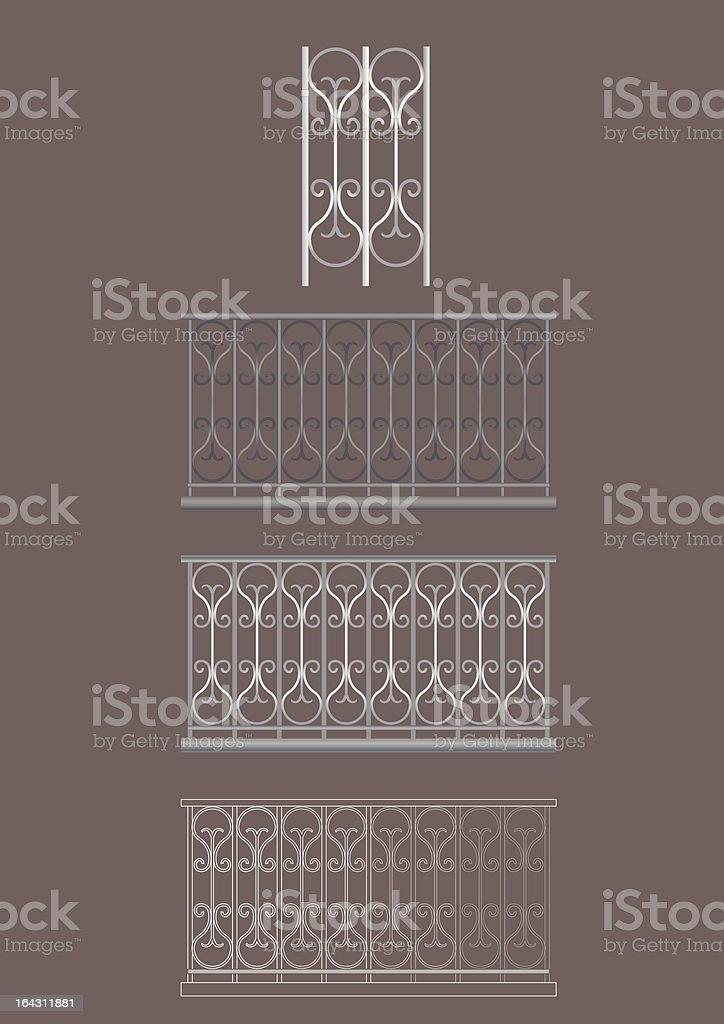 Iron Balconies vector art illustration