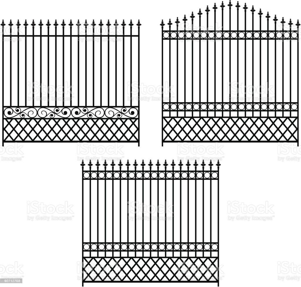 Iron Fencing Set-1 royalty-free stock vector art