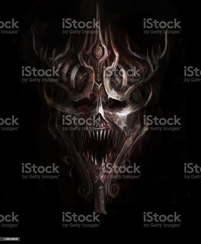 iron skull vector art illustration