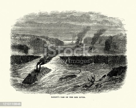 Vintage engraving of Ironclad gunboats passing Bailey's Dam, Red River, American Civil War, 19th Century. Bailey's Dam was a timber dam on the Red River in Alexandria, Louisiana. The dam was built in 1864 at Lieutenant Colonel Joseph Bailey's request to afford passage over the Alexandria rapids for part of Rear Admiral David Dixon Porter's Mississippi River Squadron during the Red River Campaign in the Civil War.