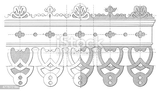 19th century design for an ironwork decorative double-eaves board. Published in 'The Practical Magazine, an Illustrated Cyclopedia of Industrial News, Inventions and Improvements, collected from foreign and British sources for the use of those concerned in raw materials, machinery, manufactures, building, and decoration.' (Wedwood, Watt & Co./ W.P. Bennett & Co., London/Birmingham, 1873).