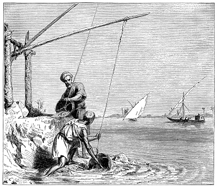 Irrigation in the Nile Valley, Egypt (1882 engraving)