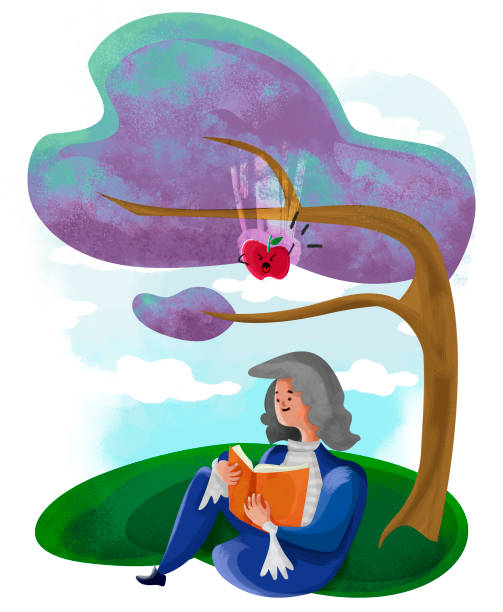 Isaac and the fearless apple illustration about Isaac Newton, discovery of the law of gravity and the threatening apple. pedreiro stock illustrations