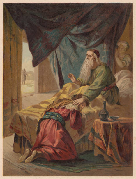 isaac blessing jacob (genesis 27), chromolithograph, published in 1886 - old man illustration pictures stock illustrations, clip art, cartoons, & icons