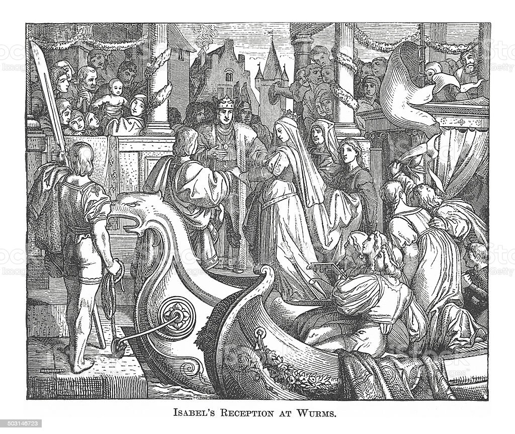 Isabel's Reception at Wurms (antique engraving) vector art illustration