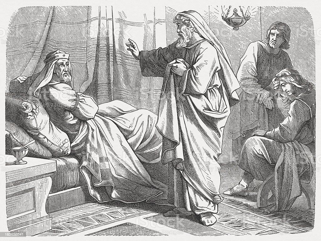 Isaiah before Hezekiah (Isaiah 38), wood engraving, published 1877 vector art illustration