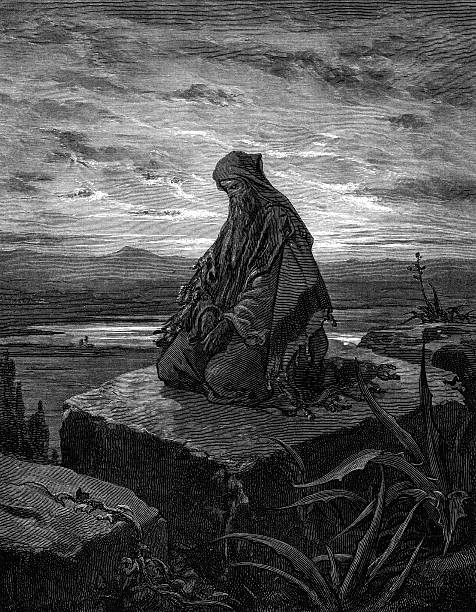 isaiah beseeches god - old man praying picture pictures stock illustrations, clip art, cartoons, & icons