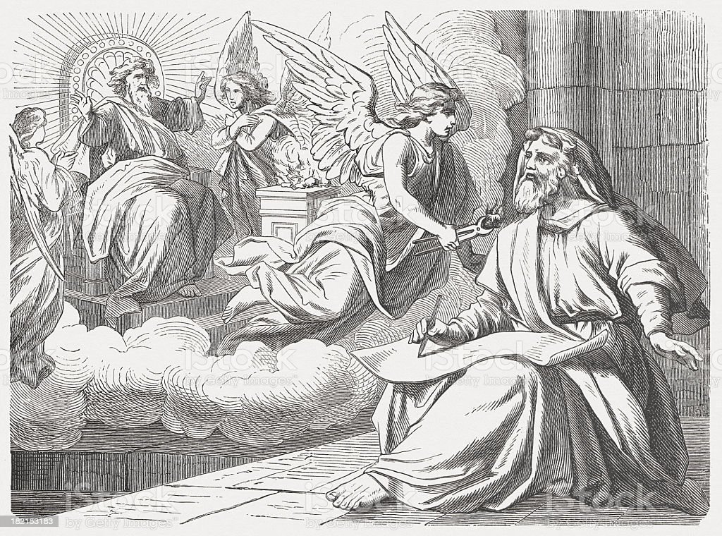 Isaiah looks the Lord (Isaiah 6, 5-8), published in 1877 vector art illustration