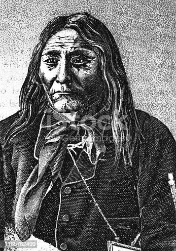 Portrait of Isapo-Muxika (Crowfoot), Chief of the Siksika First Nation (1830 - 1890). Vintage etching circa late 19th century.