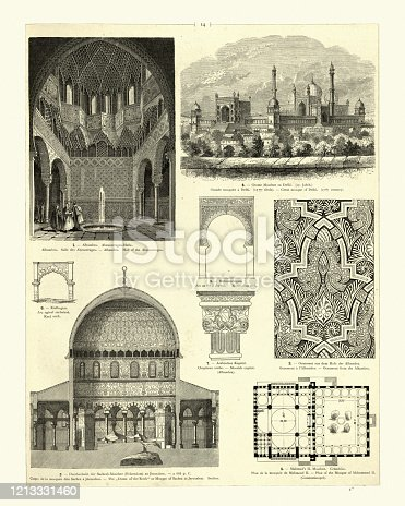 Vintage engraving of examples of Classical Islamic architecture. Alhambra, Hall of Abencerrages.  Great mosque of Delhi. Dome of the Rock, Jerusalem