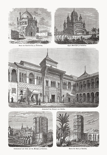 Islamic architecture, wood engravings, published in 1893