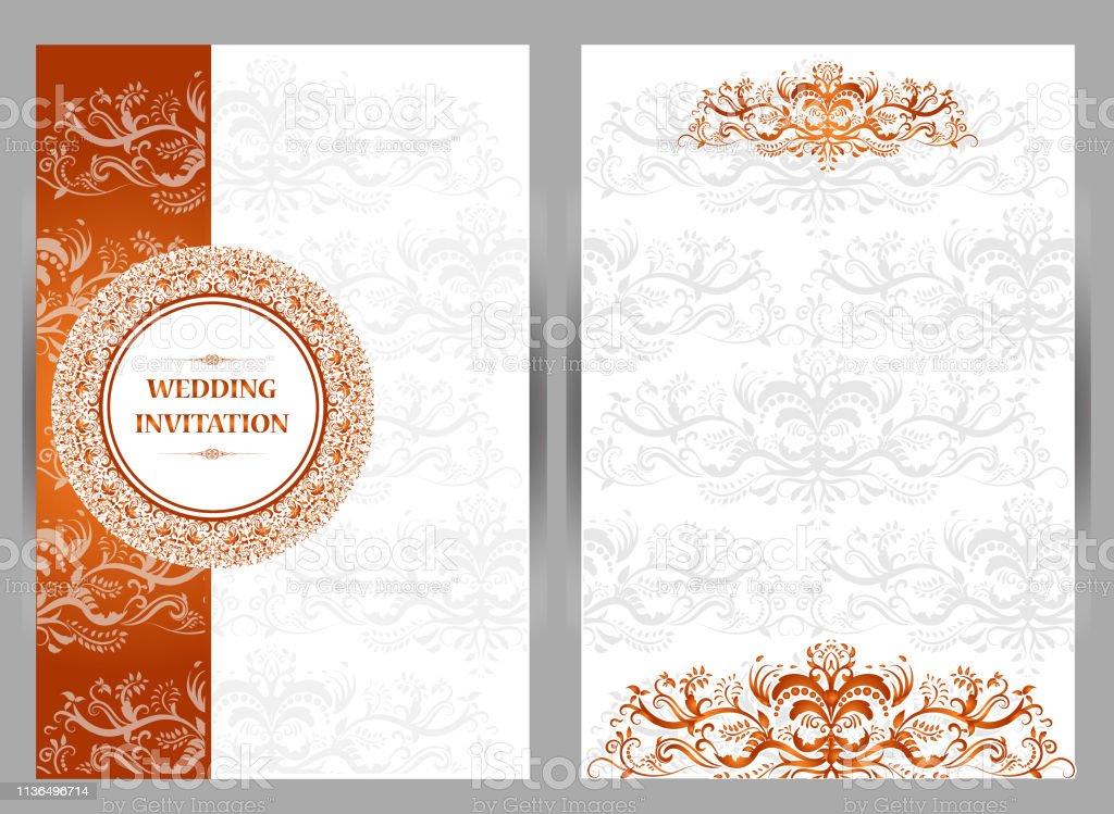 Islamic Orange Wedding Card Background Stock Illustration