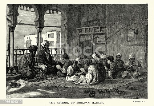 istock Islamic school of Sultan Hassan, Boys studying the Koran, 19th Century 1266104012