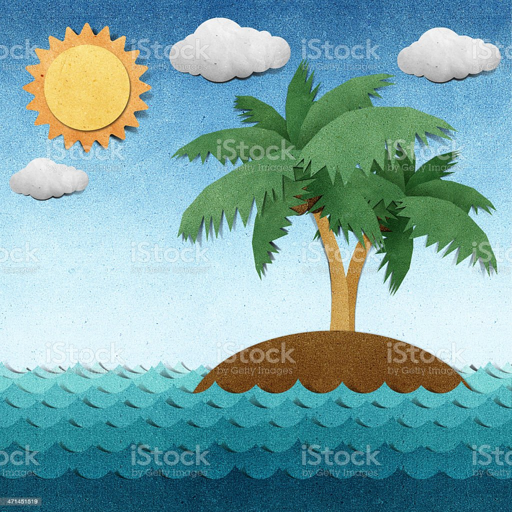 Island and sea recycled paper craft royalty-free island and sea recycled paper craft stock vector art & more images of art