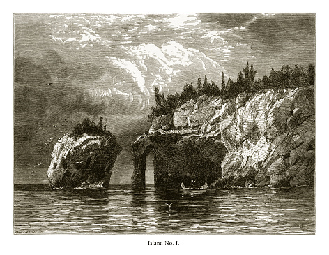 Very Rare, Beautifully Illustrated Antique Engraving of Island Number One, Lake Superior, Minnesota, United States, American Victorian Engraving, 1872. Source: Original edition from my own archives. Copyright has expired on this artwork. Digitally restored.