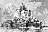 Steel engraving of Mont Saint-Michel Normandy France\nOriginal edition from my own archives\nSource : Gartenlaube 1887\nDrawing : R.Füttner