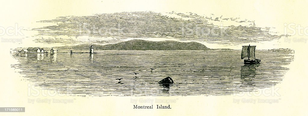 Island of Montreal, Quebec, Canada | Historic American Illustrations royalty-free stock vector art