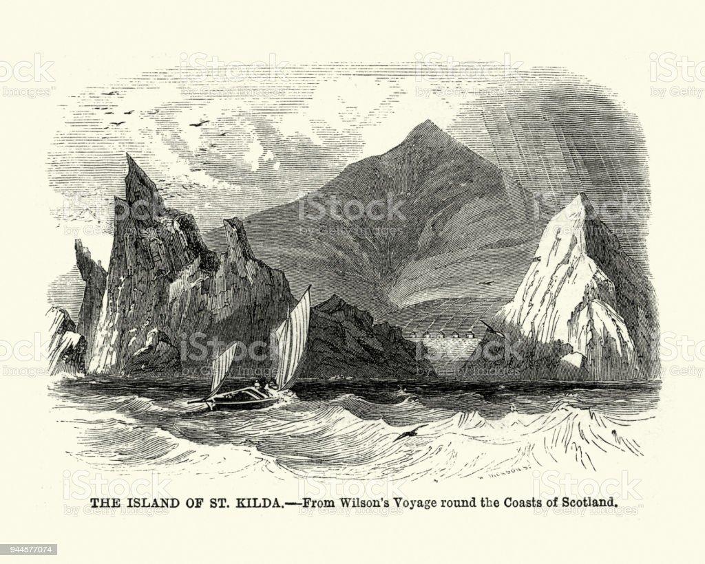 Island of St Kilda, Scotland, 19th Century vector art illustration