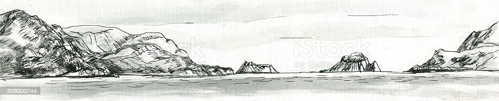 island on the sea graphic sketch vector art illustration