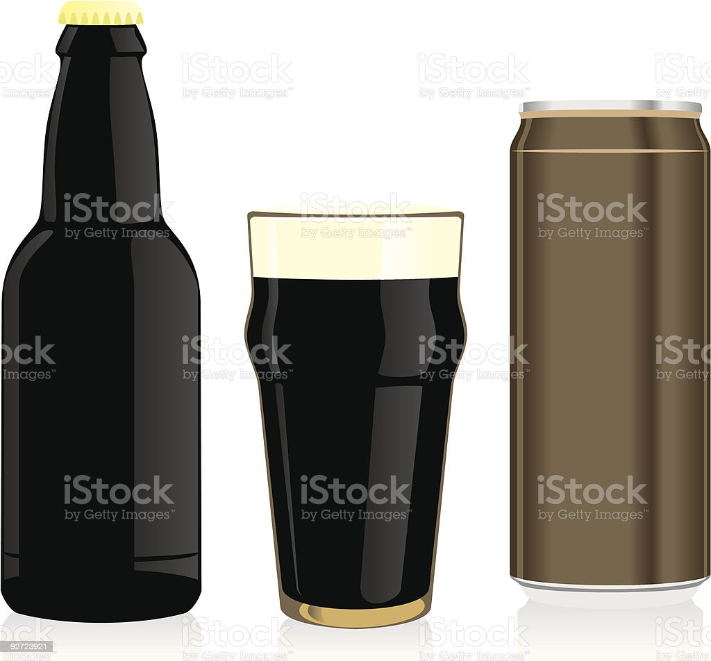 isolated black beer bottle, glass and can royalty-free stock vector art