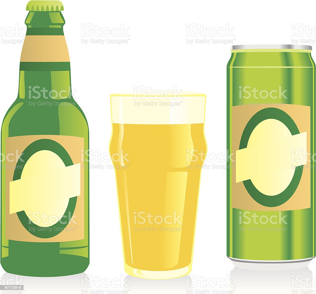 isolated blonde beer bottle, glass and can with label royalty-free stock vector art
