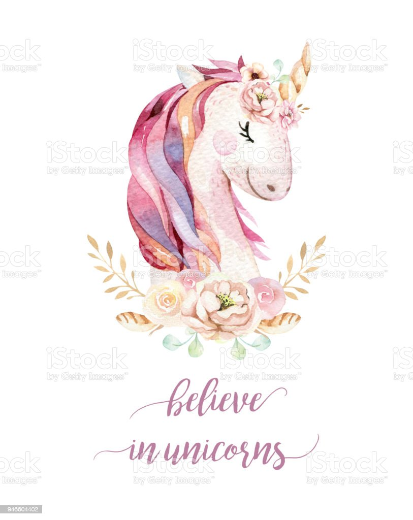 Isolated Cute Watercolor Unicorn Clipart With Flowers Nursery