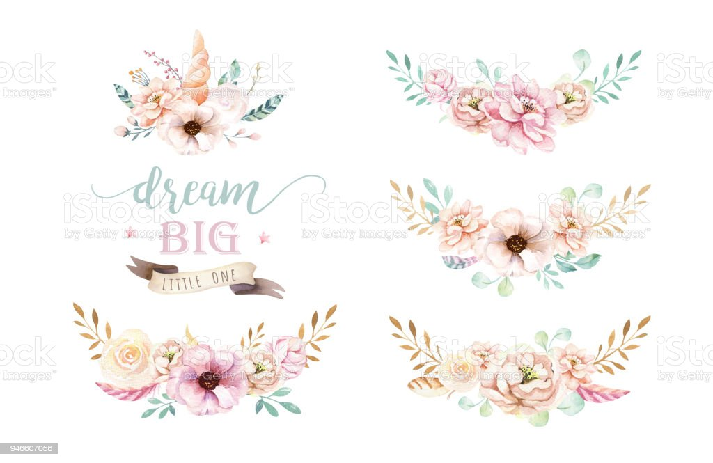 Isolated cute watercolor unicorn clipart with flowers nursery isolated cute watercolor unicorn clipart with flowers nursery unicorns illustration princess rainbow poster mightylinksfo