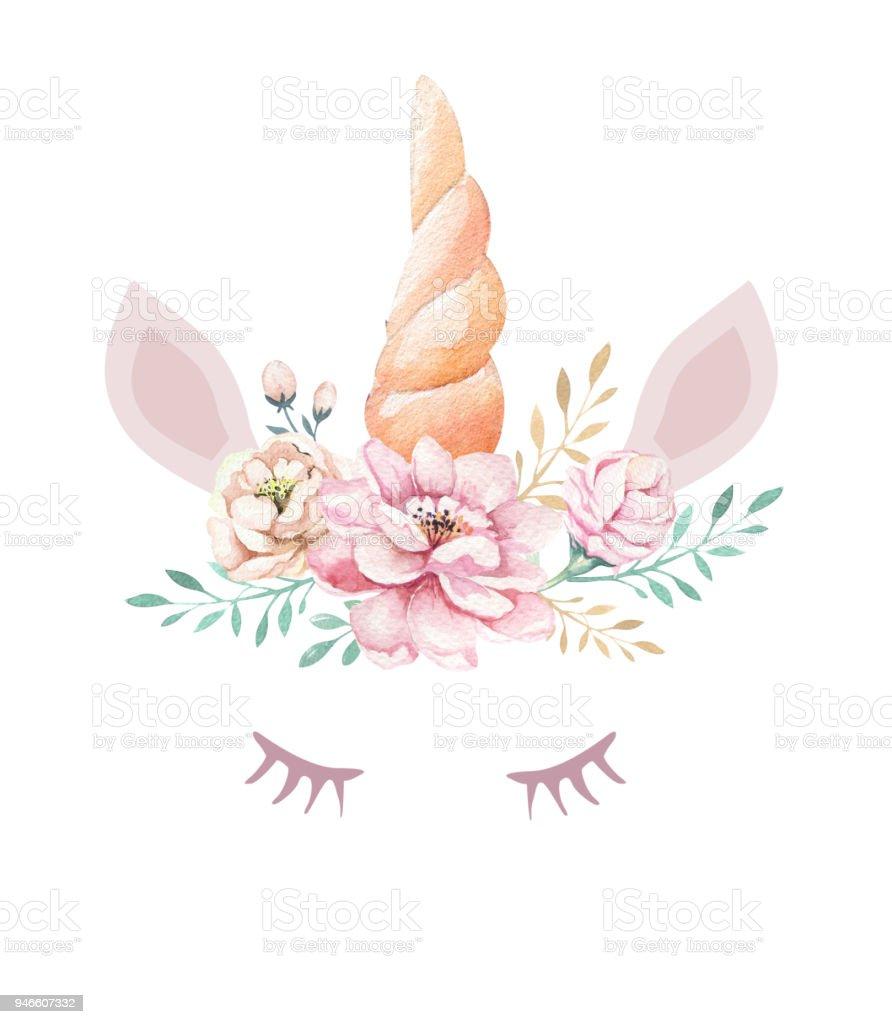 clipart isole joli licorne aquarelle avec des fleurs With affiche chambre bébé avec aquarelles de fleurs