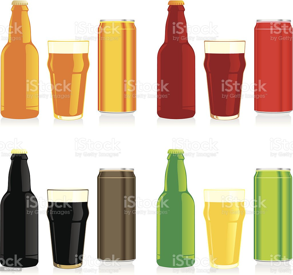 isolated different beer bottles, cans and glasses royalty-free stock vector art