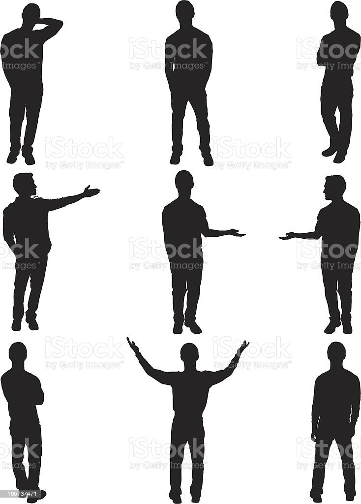 Isolated men standing and posing vector art illustration