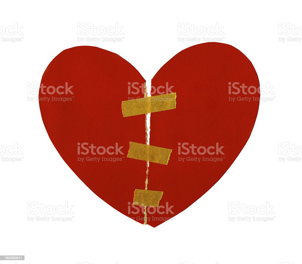 Isolated Paper Heart Torn And Mend royalty-free isolated paper heart torn and mend stock vector art & more images of adhesive tape
