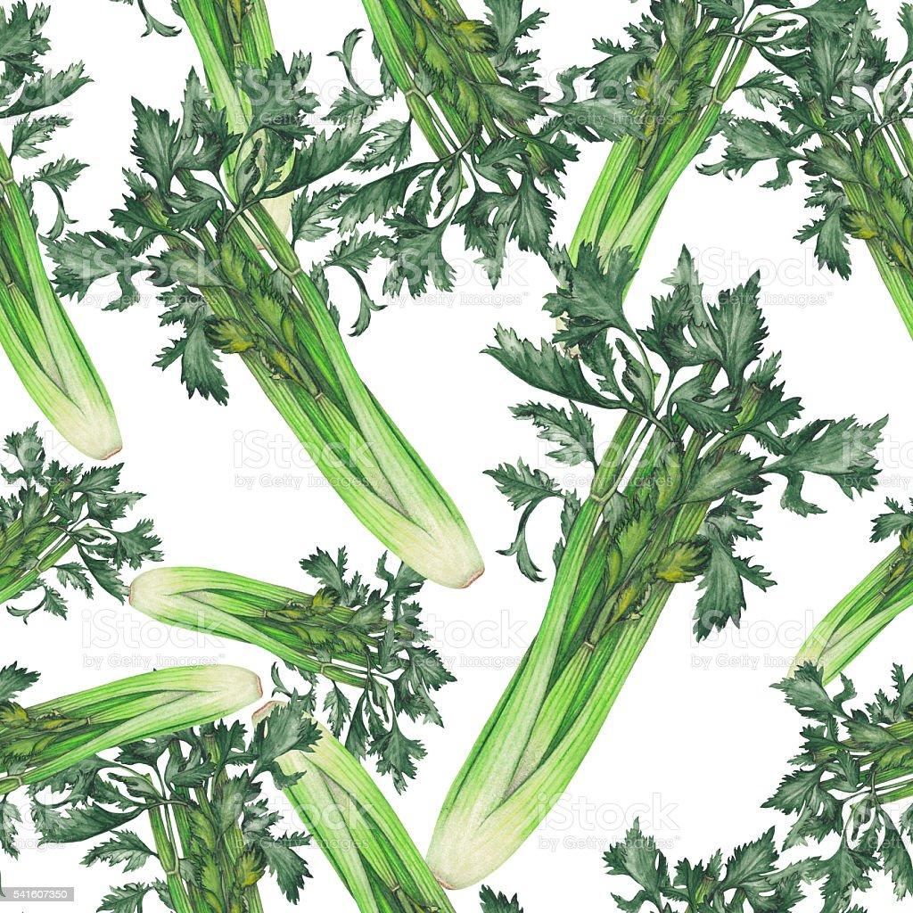 Isolated seamless pattern of celery vector art illustration
