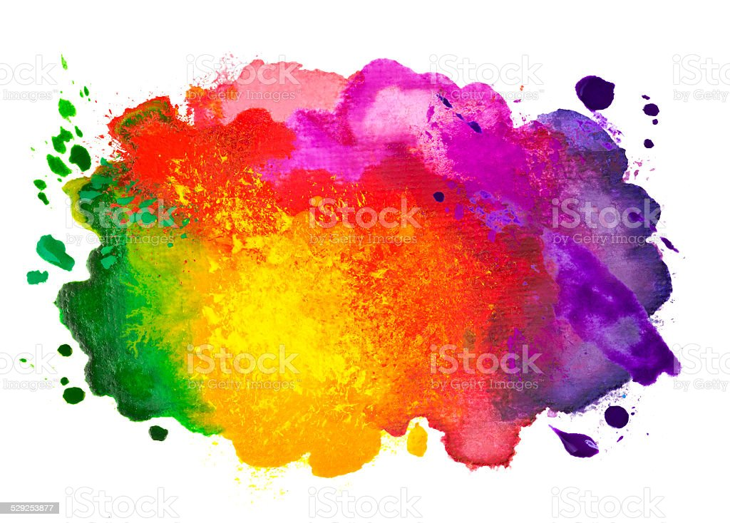 Isolated shot of watercolor stain hand drawn on canvas vector art illustration