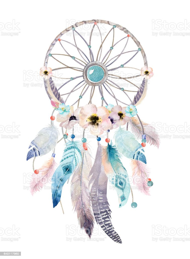 Isolated Watercolor Decoration Bohemian Dreamcatcher Boho