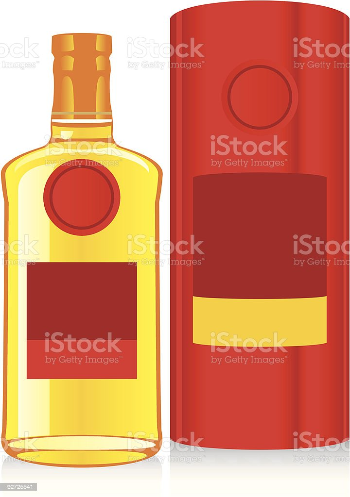 isolated whiskey bottle and box royalty-free stock vector art