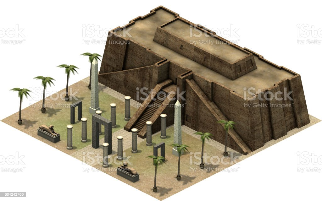 Isometric buildings of ancient Egypt, 3D rendering stock photo