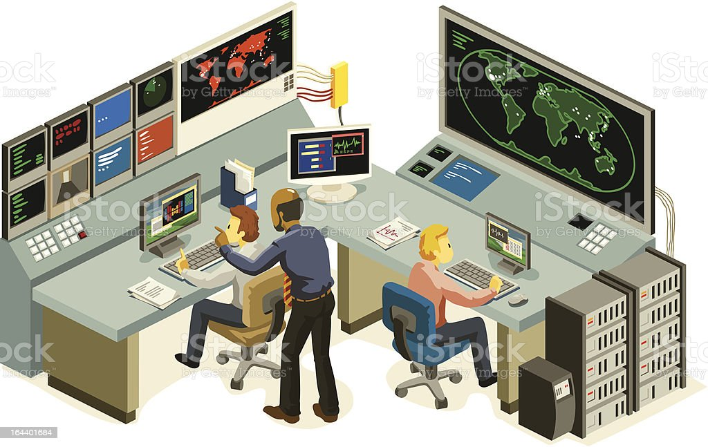 Isometric Control Center vector art illustration