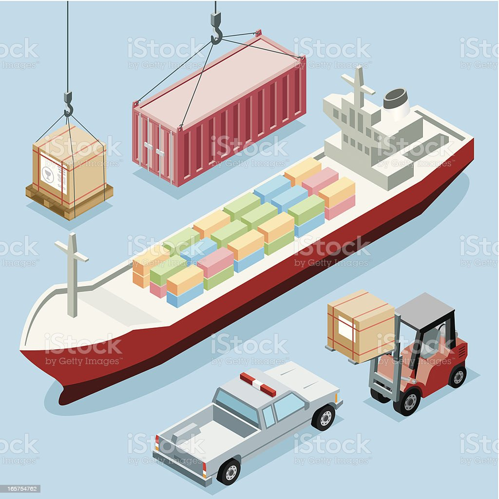 Isometric, Freight Transportation vector art illustration