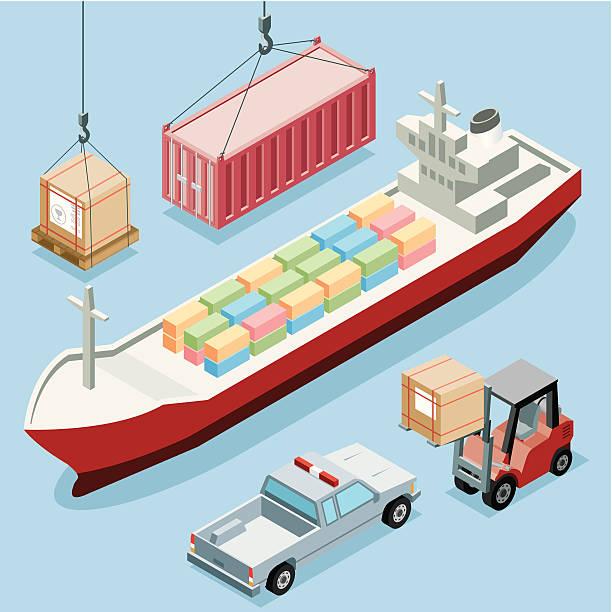 "Isometric, Freight Transportation ""Isometric, Freight Transportation on golden background, made in adobe Illustrator (vector)"" hooikoorts stock illustrations"