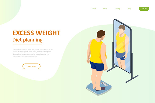 Isometric Healthy food and Diet planning. Fat man looks with a mirror and introduces herself slender, the dream of losing weight