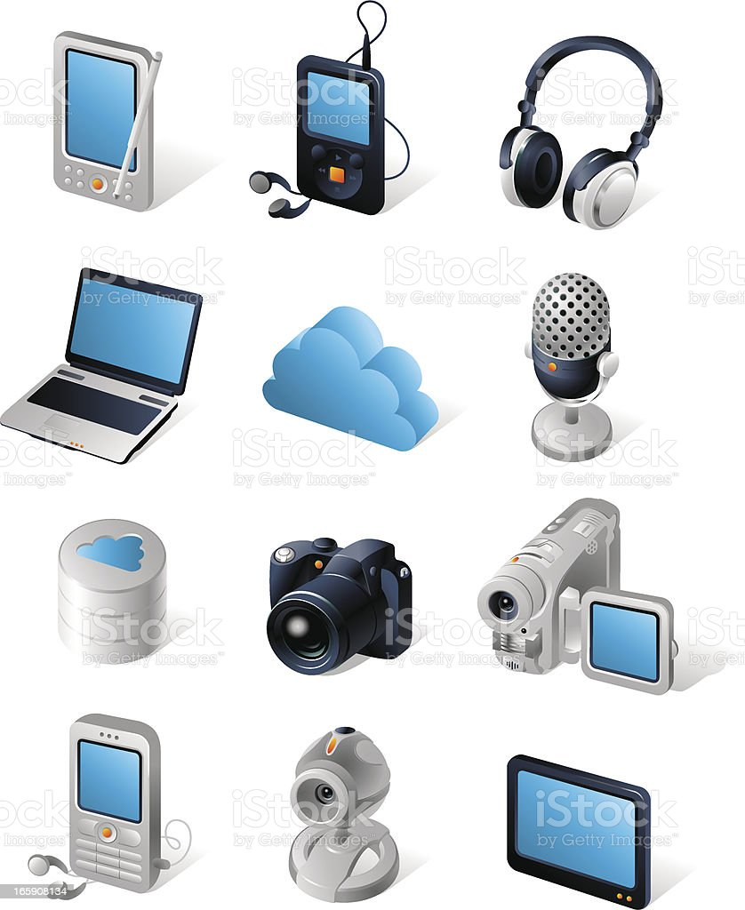 Isometric icons | Network devices vector art illustration