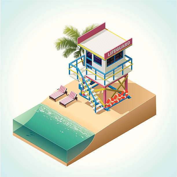 Isometric lifeguard tower vector art illustration