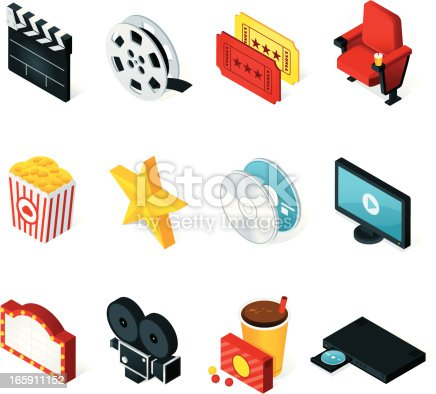 Isometric movie/cinema icons. All colors are global. Linear and radial gradients used.