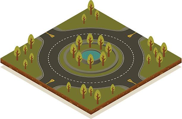 stockillustraties, clipart, cartoons en iconen met isometric road toolkit - roundabout - rotonde kruispunt