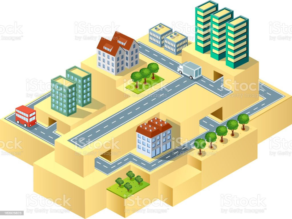 Isometric town royalty-free stock vector art