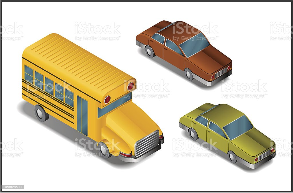 isometric vehicles - vector royalty-free isometric vehicles vector stock vector art & more images of bus