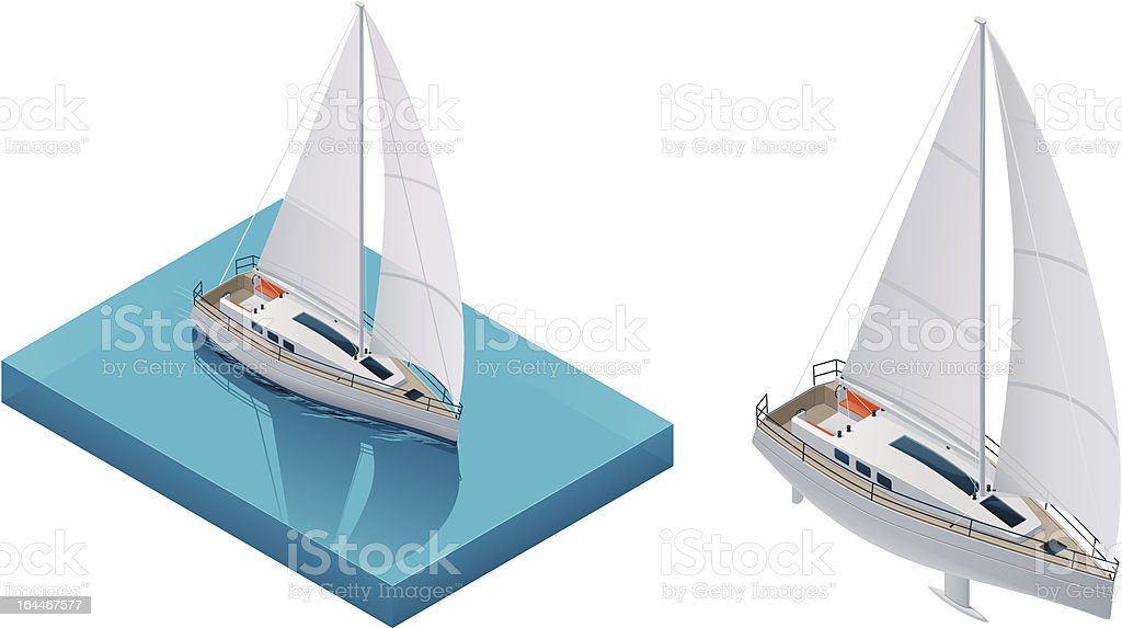 Isometric yacht royalty-free stock vector art
