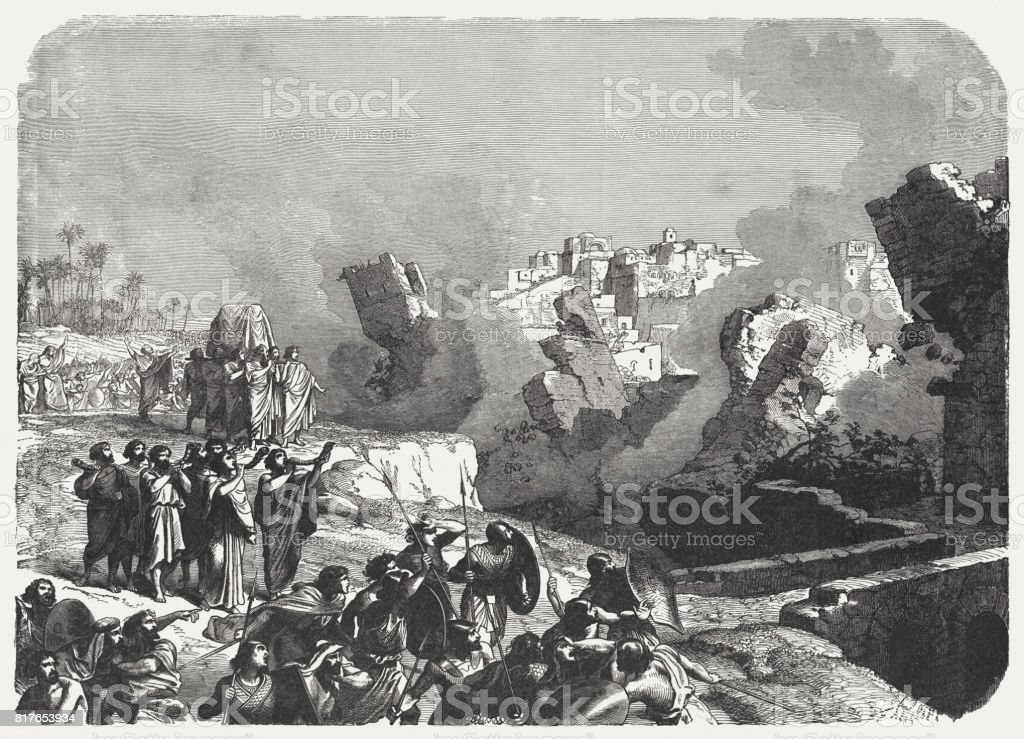 Israel Conquers Jericho (Jushua 6), wood engraving, published in 1886 vector art illustration